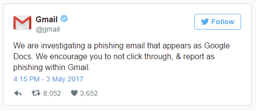 Google Tweet About Phishing