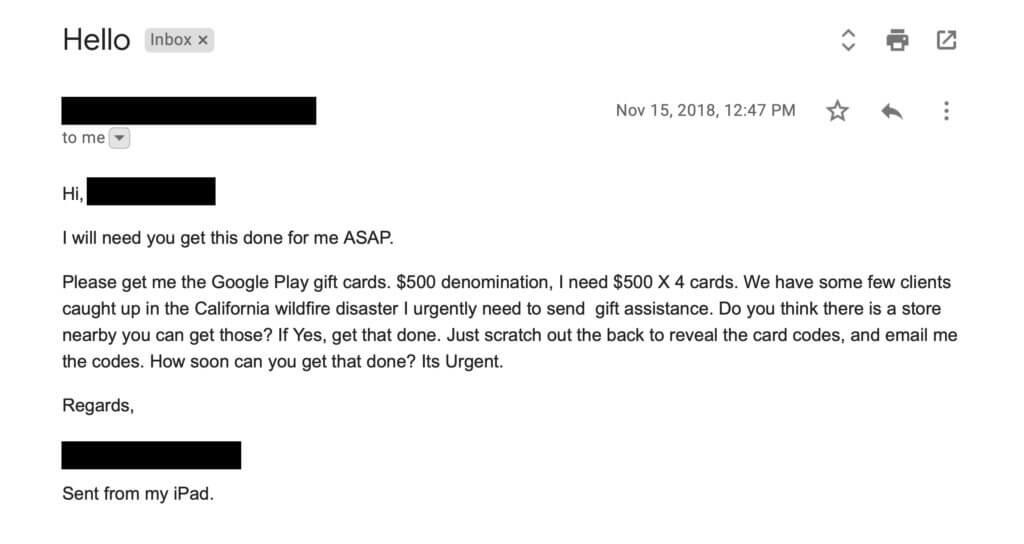 The Boss Needs Them! Gift Card Phishing Scam - AtNetPlus